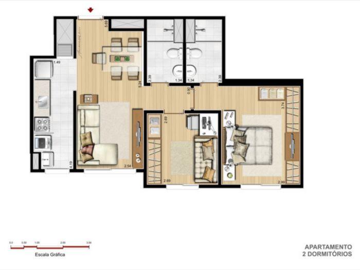 Apartamentos de 2 dormitórios em Azenha, Porto Alegre - RS